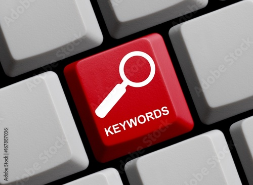 Photo Tastatur mit Lupe: Keywords