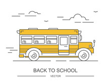 Back To School. Yellow Bus. Linear Vector Illustration. American Education. Children Transport. Line Icon
