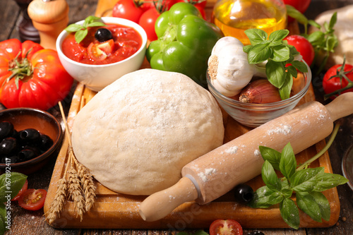Poster Pays d Asie raw dough pizza and ingredients