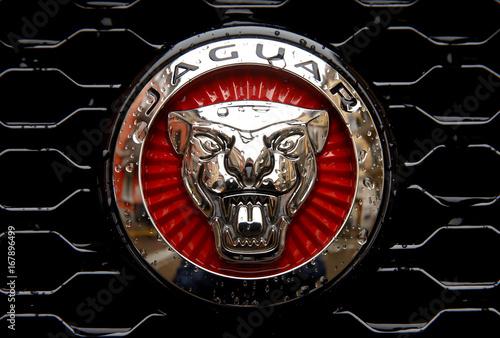 The logo of British manufacturer Jaguar is seen on a Jaguar