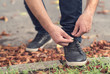 Men's shoes tying shoelaces