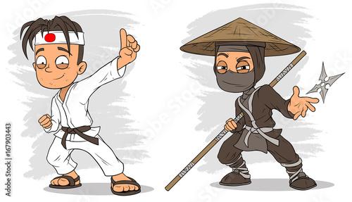 Fotobehang Piraten Cartoon karate boy and ninja characters vector set