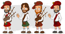 Cartoon Scottish With Bagpipe ...