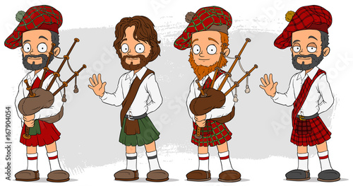 Photo Cartoon scottish with bagpipe characters set