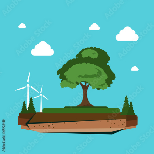 Nature Landscape With Wind Turbine Alternative Energy Resource Concept Flat Vector Illustration