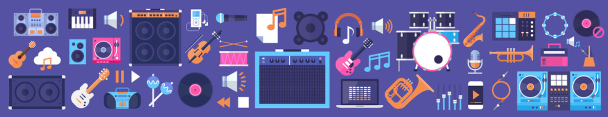 Seamless Pattern Music Instruments And Equipment Electronics Icons Flat Vecto...