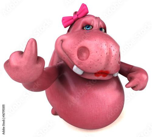 Fotobehang Boerderij Pink Hippo - 3D Illustration