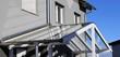 Leinwanddruck Bild - Haustür-Vordach aus Glas (Glass canopy front door)