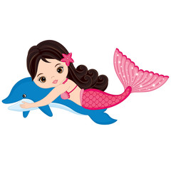 Vector Cute Little Mermaid Swimming with Dolphin