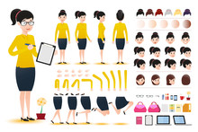 Woman Clerk Wearing Skirt Character Creation Kit Template With Different Facial Expressions, Hair Colors, Body Parts And Accessories. Vector Illustration.