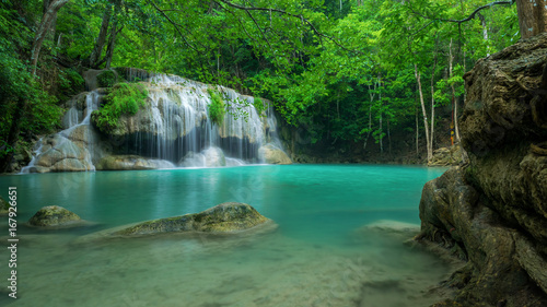 Foto op Plexiglas Groene Wonderful green waterfall at deep forest, Erawan waterfall located Kanchanaburi Province, Thailand