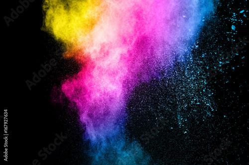 Fotobehang Heelal color powder explosion on black background.