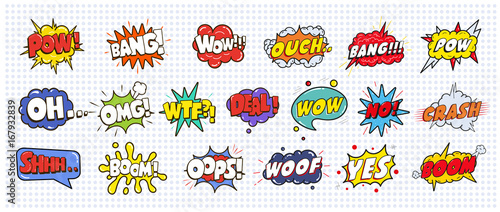 Photo  Comic sound speech effect bubbles set isolated on white background illustration