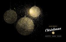 Christmas Gold Glitter Art Holiday Decoration Card