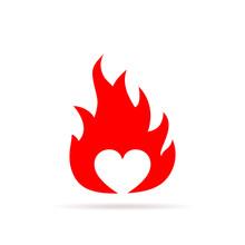 Heart In Flame. Vector Illustr...