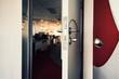 abstract office meeting room door open to walkway