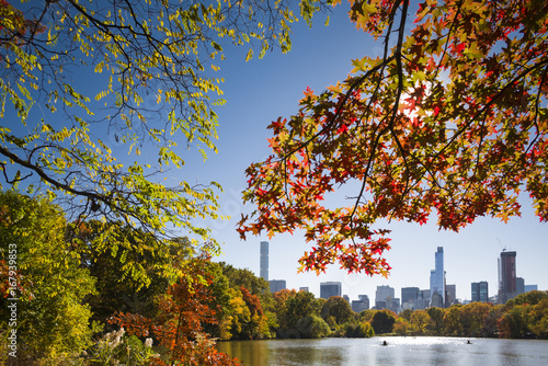 USA, New York, New York City, Central Park, rowing on The Lake, autumn