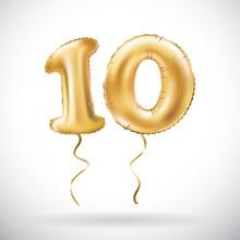 Vector Golden Number 10 Ten Me...