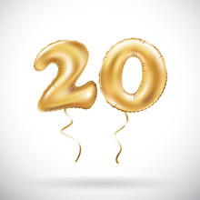 Vector Golden Number 20 Twenty Metallic Balloon. Party Decoration Golden Balloons. Anniversary Sign For Happy Holiday, Celebration, Birthday, Carnival, New Year.