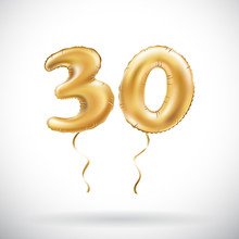 Vector Golden Number 30 Thirty Metallic Balloon. Party Decoration Golden Balloons. Anniversary Sign For Happy Holiday, Celebration, Birthday, Carnival, New Year.