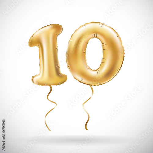Fotografía vector Golden number 10 ten metallic balloon