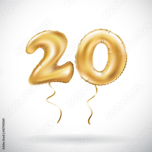 Photographie  vector Golden number 20 twenty metallic balloon