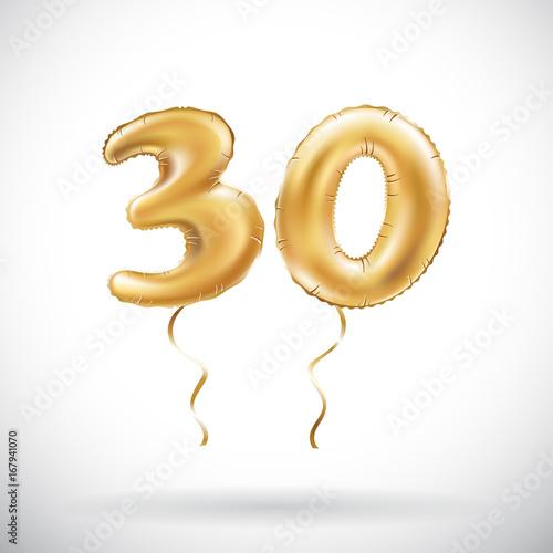 Fotografia  vector Golden number 30 thirty metallic balloon