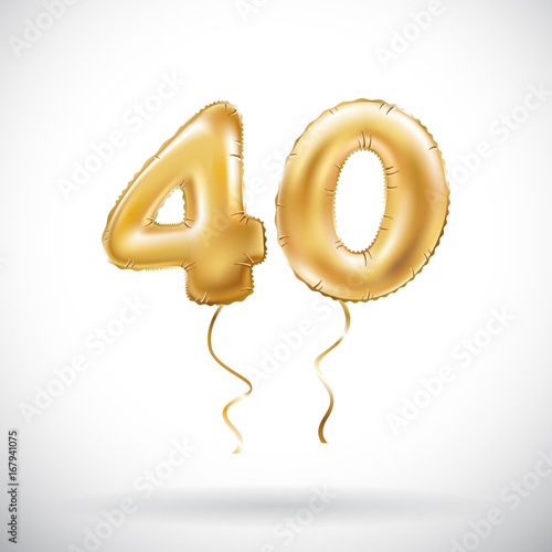 Fotografia  vector Golden number 40 forty metallic balloon