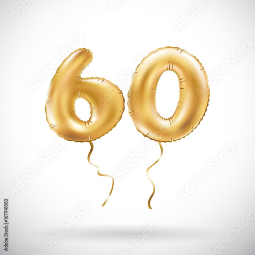 Fotografia  vector Golden number 60 sixty metallic balloon
