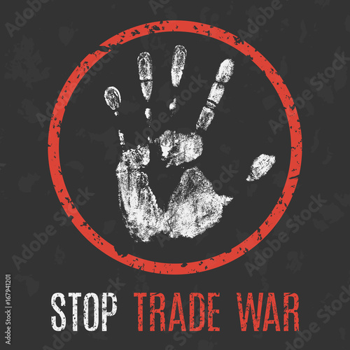 Photo Vector illustration. Global problems of humanity. Stop trade war.