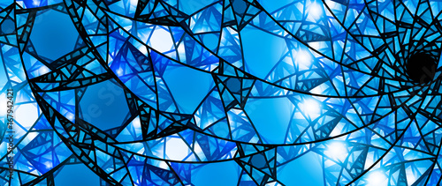 Fotografie, Obraz  Blue glowing stained glass 8k widescreen background
