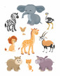 The image of cute African animals in cartoon style. Children's illustration. Vector set.