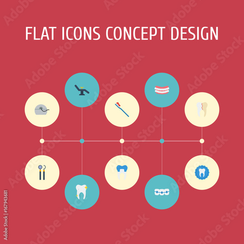 Photo Flat Icons Cleaned, Tooth Seal, Furniture And Other Vector Elements