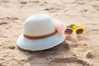 Beach accessories with straw-hat,Sun glasses