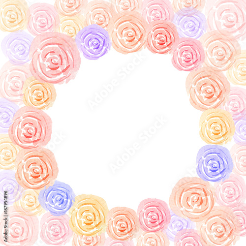pastel colorful rose watercolor with space circle