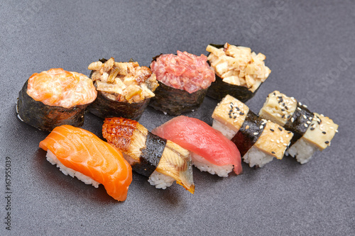 sushi on the black background Wallpaper Mural