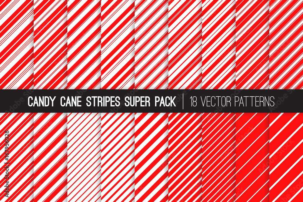 Fototapeta Super Pack of Christmas Candy Cane Stripes Seamless Vector Patterns. Classic Winter Holiday Mint Treat. Red White Striped Backgrounds. Variable Thickness Diagonal Lines. Pattern Tile Swatches Included