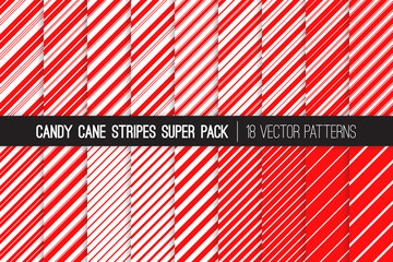 Super Pack of Christmas Candy Cane Stripes Seamless Vector Patterns. Classic Winter Holiday Mint Treat. Red White Striped Backgrounds. Variable Thickness Diagonal Lines. Pattern Tile Swatches Included