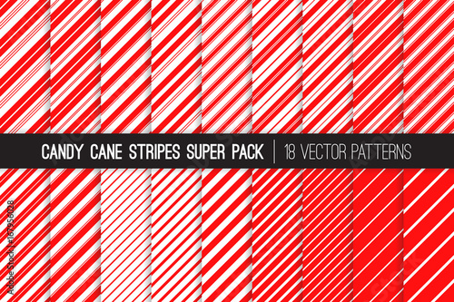 fototapeta na ścianę Super Pack of Christmas Candy Cane Stripes Seamless Vector Patterns. Classic Winter Holiday Mint Treat. Red White Striped Backgrounds. Variable Thickness Diagonal Lines. Pattern Tile Swatches Included