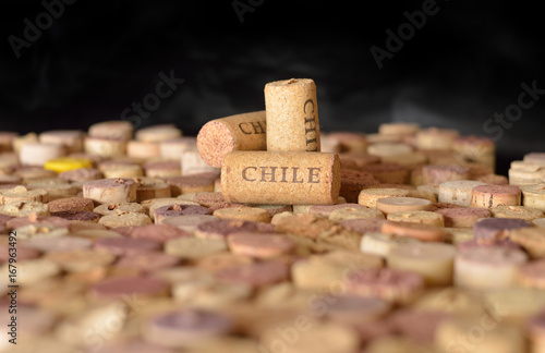 Countries winemakers. Chile's name on wine corks. Canvas-taulu
