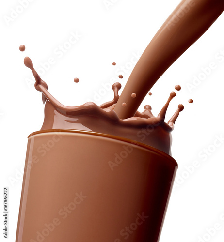 Poster Milkshake chocolate milk drink splash glass