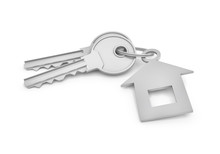 3d Rendering Of Two Isolated Silver Keys On A Key Ring With Label