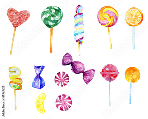 Watercolor Candy Collection Food Collection Sweets Lollipop Hand