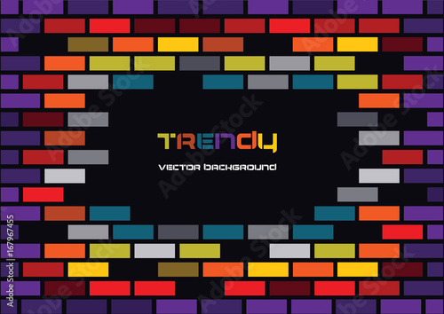 Pinturas sobre lienzo  trendy vector colorful bright bricks background with frame for your text