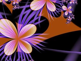 Dark fractal flower, digital artwork for creative graphic design. Postcard template.