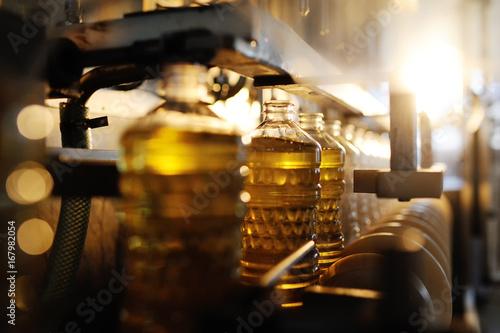 Fototapeta Sunflower oil in the bottle moves along the conveyor line. Production of vegetable refined oil from sunflower seeds obraz