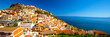 Leinwandbild Motiv Colorful houses in Castelsardo town, Sardinia, Italy