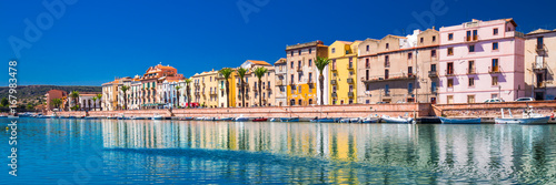 Bosa old city center with colorful houses and Fiume Temo river, Sardinia, Italy, Europe Canvas Print