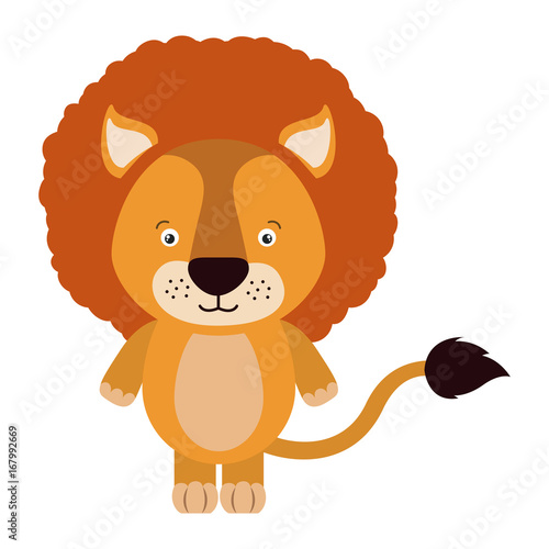 Fototapety, obrazy: white background with colorful caricature cute lion animal