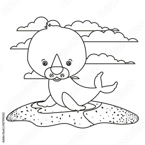 Papiers peints Cartoon draw white background with silhouette scene cute seal aquatic animal in grass